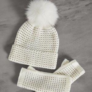 BCBG Pom Pom Beanie Winter Hat & Fingerless Gloves